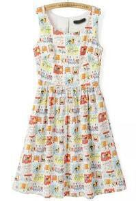 Multicolor Sleeveless Cartoon Thief Print Dress