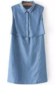 Blue Lapel Sleeveless Straight Denim Dress