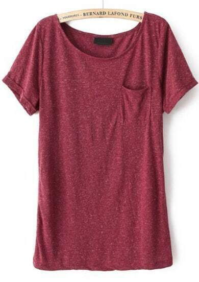 Wine Red Short Sleeve Pocket Loose T-Shirt