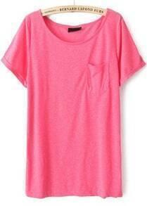 Rose Red Short Sleeve Pocket Loose T-Shirt