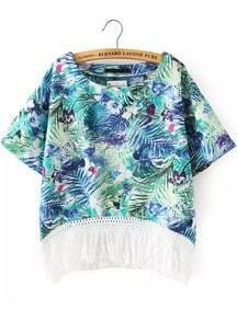 Green Short Sleeve Leaves Print Tassel Blouse
