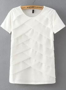 White Short Sleeve Cross Front Blouse
