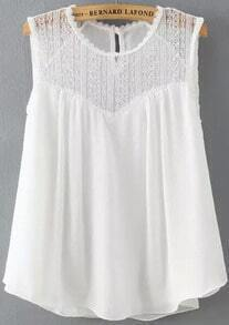 White Sleeveless Lace Loose Tank Top