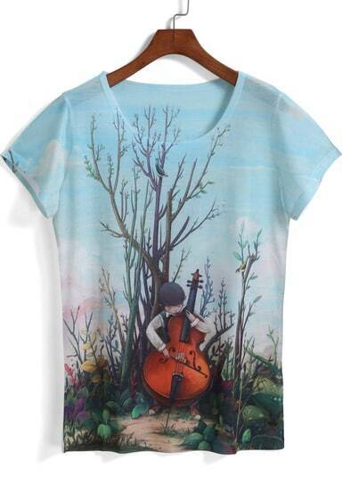 Blue Short Sleeve Violin Boy Print T-Shirt pictures