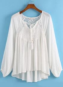 White Long Sleeve Lace Dip Hem Blouse