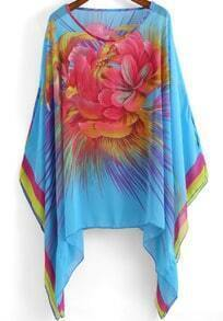 Blue Round Neck Floral Loose Chiffon Blouse