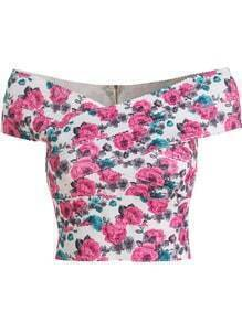 Red Boat Neck Floral Slim Crop Top