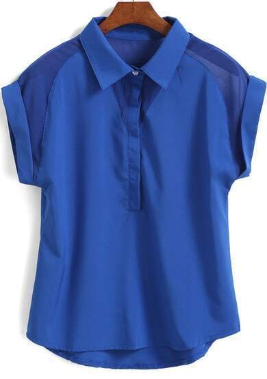 Lapel Short Sleeve Royal Blue Blouse