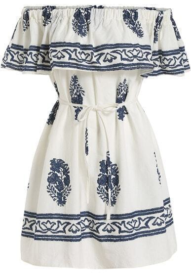 White Boat Neck Blue Floral Ruffle Dress