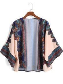 Multicolor Tribal Print Crop Kimono