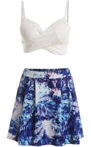 White Spaghetti Strap Cross Top With Blue Skirt