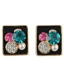 New Model Hot Sale Rhinestone Small Stud Square Earrings