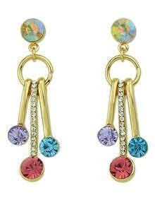 Colorful Rhinestone Hanging Earrings