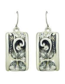 Silver Rhinestone Flower Square Earrings