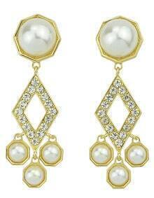 Hot Sale Elegant Style Gold Plated Imitation Pearl Hanging Earrings