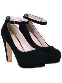 Black Ankle Strap High Heel Pumps