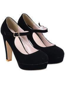 Black High Heel Buckle Pumps