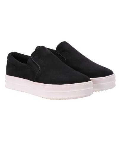Black Hidden Platform Contrast PU Leather Flats