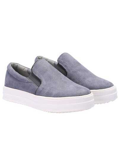 Grey Hidden Platform Contrast PU Leather Flats
