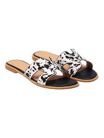 Sandalias tacón bajo -blanca y negra