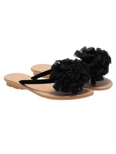 Black Flowers Embellished Sandals