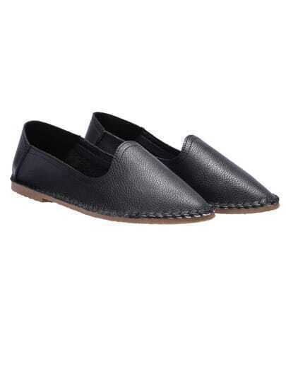 Black Almond Toe PU Flats