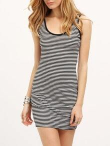 Black White Sleeveless Striped Bodycon Dress