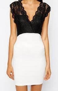 Black White V Neck Lace Slim Bodycon Dress