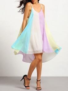Multicolor Spaghetti Strap Loose Dress