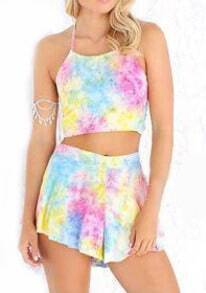 Multicolor Halter Backless Crop Top With Shorts