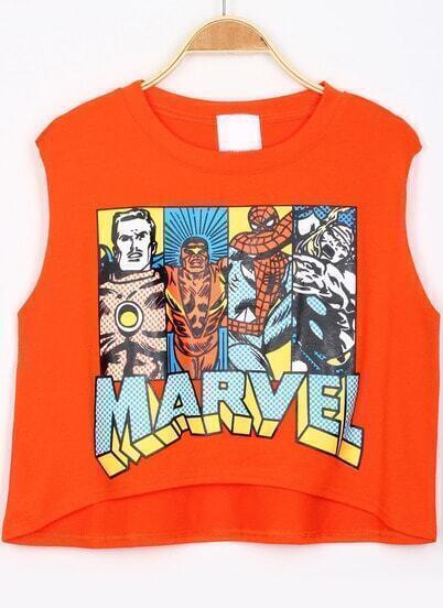 Orange Super Hero Print Dip Hem Tank Top