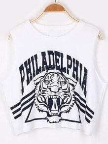 White PHILADELPHIA Tiger Print Crop Tank Top