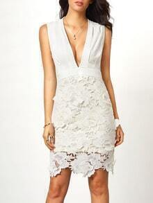 Beige Deep V Neck With Crochet Lace Dress