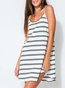 White Spaghetti Strap Striped Dress