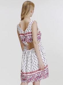 White Sleeveless Vintage Print High Low Dress