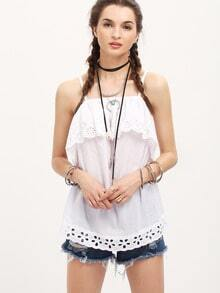 White Spaghetti Strap Hollow Blouse