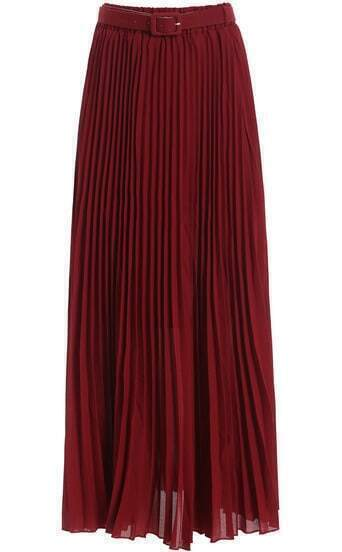 Wine Red Belt Pleated Chiffon Skirt