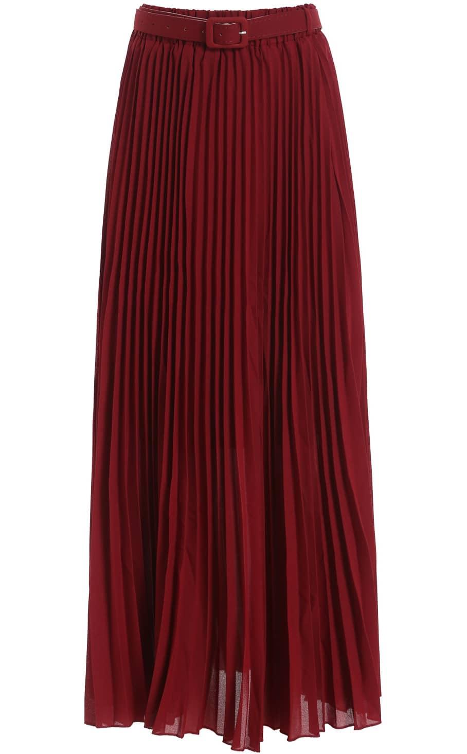 wine belt pleated chiffon skirt shein sheinside