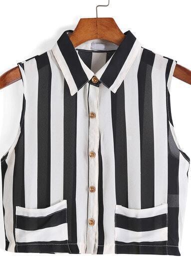 Black Lapel Vertical Stripe Crop Blouse