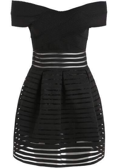 Vestido hombro al aire rayas organza -negro
