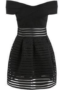 Black Off the Shoulder Striped Organza Dress