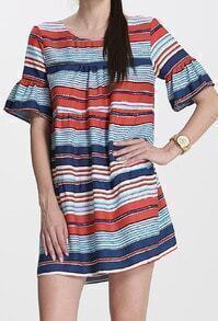 Multicolor Bell Sleeve Striped Straight Dress