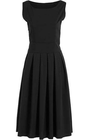 Black Square Neck Sleeveless Pleated Dress