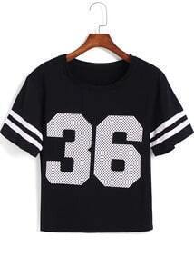 Black Short Sleeve Polka Dot 36 Print T-Shirt