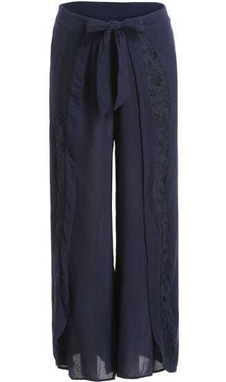 Navy Lace Bow Wide Leg Pant