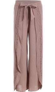 Coffee Lace Bow Wide Leg Pant