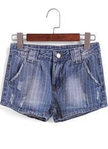 Blue Vertical Stripe Ripped Denim Shorts