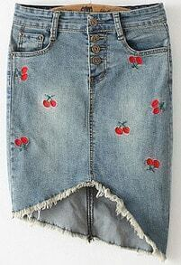 Blue Cherry Embroidered Fringe Denim Skirt