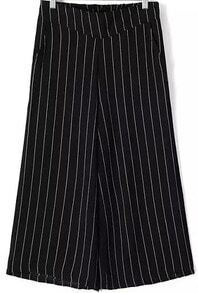 Black Vertical Stripe Wide Leg Chiffon Pant