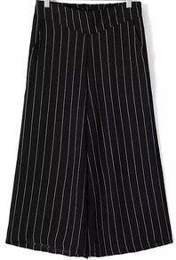 Black Vertical Stripe Wide Leg Chiffon Pant